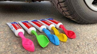 Crushing Crunchy & Soft Things by Car! EXPERIMENT: Car vs Coca Cola, Fanta, Mirinda Balloons