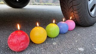 EXPERIMENT: CAR VS CANDLES - Crushing Crunchy & Soft Things by Car!