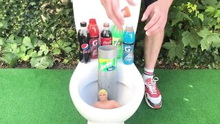 Experiment !! Stretch Armstrong VS Cola, Fanta, Mtn Dew, Monster and Mentos in Toilet