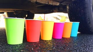 Crushing Crunchy & Soft Things by Car! - EXPERIMENT: CAR VS COLORED DRINKS