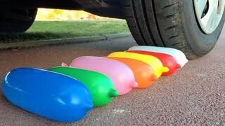 Crushing Crunchy & Soft Things by Car! - EXPERIMENT: CAR VS LONG BALLOONS & FOOD