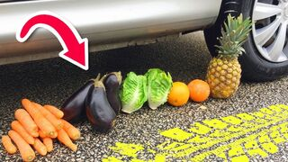 Experiment Car vs Slime, Balloons, Fruits