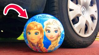 Crushing Crunchy & Soft Things by Car! - EXPERIMENT: CAR VS FROZEN ELSA SOCCER BALL