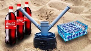 Experiment Coca Cola, Pepsi and Mentos Underground