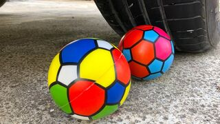 Crushing Crunchy & Soft Things by Car -EXPERIMENTS: Car vs Colorful Balls.