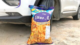 Crushing Crunchy & Soft Things by Car -EXPERIMENTS: CAR VS GIANT SNACK, TOYS