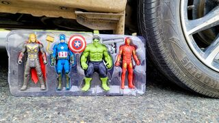 Crushing Crunchy  Soft Things by Car!   EXPERIMENT AVENGERS TOYS VS CAR TEST