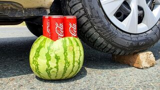 Crushing Crunchy & Soft Things by Car! EXPERIMENT: CAR VS COCA COLA WATERMELON