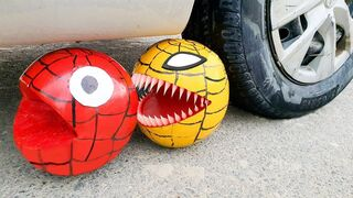 Experiment Car vs Spider Pacman Watermelon   Crushing crunchy & soft things by car!