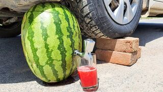 Crushing Crunchy & Soft Things by Car! EXPERIMENT: Car vs Watermelon Juice
