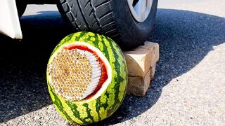 Crushing Crunchy & Soft Things by Car! - Experiment: Car vs Watermelon Cigarette, Squishy, Coke