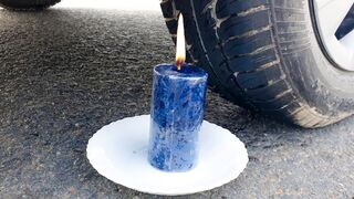 Crushing Crunchy & Soft Things by Car! - EXPERIMENT: BIG CANDLE VS CAR TEST