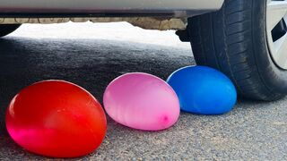 Crushing Crunchy & Soft Things by Car! EXPERIMENTS: COLORED BALLOONS VS CAR CRUSHING TEST