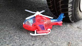 Experiment: Car vs Spiderman Ultimate Helicopter