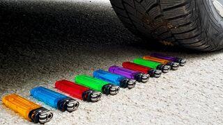 Crushing Crunchy & Soft Things by Car! EXPERIMENT: Car vs Lighter