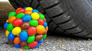 Experiment: Car vs Rainbow Mentos Ball - ASMR