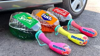 Crushing Crunchy & Soft Things By Car! Experiment: Car Vs Coca Cola, Fanta, Sprite Balloons