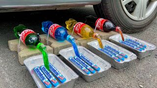 Crushing Crunchy & Soft Things by Car! Experiment: Car vs Coca Cola, Different Fanta, Pepsi, Sprite
