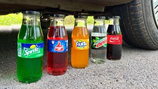 Crushing Crunchy & Soft Things By Car! Experiment:Car vs Coca Cola, Different Fanta, Mtn Dew,Sprite