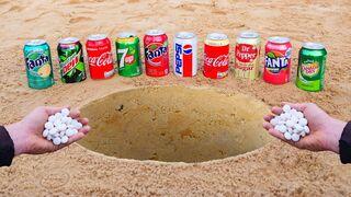 Fanta, Cola, Pepsi, Pepper, Sprite, Canada, Mirinda and other drinks inside the Big Hole vs Mentos