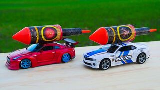 Experiment: XXL ROCKET with Toy Car GTR vs POLICE