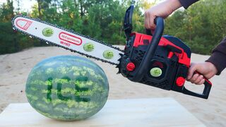 Experiment: Chainsaw vs Ice Watermelon