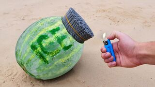 EXPERIMENT: A lot of Sparklers vs Ice Watermelon