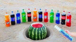 Coca Cola, Fanta, Pepsi, Mirinda, Sprite vs Mentos inside Watermelon