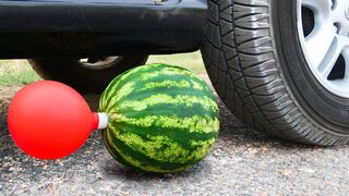 Crushing Crunchy & Soft Things by Car! EXPERIMENT Car vs Watermelon and Balloon