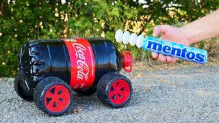 XXL Coca-Cola Rocket vs Mentos = Turbo-Toy Car
