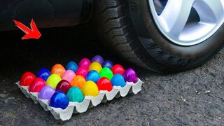 EXPERIMENT: CAR VS RAINBOW EGGS