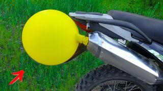 EXPERIMENT: HUGE BALLOON vs MOTORCYCLE EXHAUST