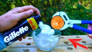 EXPERIMENT: Glowing 1000 Degree METAL BALL vs Shaving Foam
