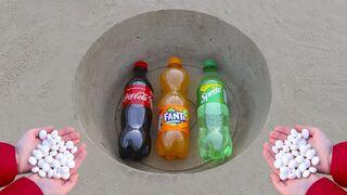 Coca Cola, Fanta, Sprite vs Mentos!