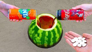 Coca Cola and Fanta vs Mentos with Watermelon!