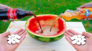 Coca Cola and Fanta vs Mentos in a Watermelon!