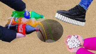 Coca Cola, Fanta, Sprite vs Mentos !