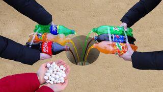 Volcano of Coca Cola, Fanta, Sprite, Pepsi, Mirinda, 7 UP and Mentos !