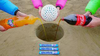Mentos Ball vs Coca Cola and Fanta