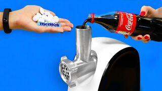 Meat Grinder vs Coca Cola and Mentos!