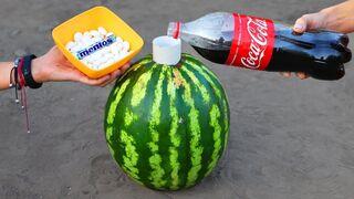 Watermelon Reaction with Mentos and Coca Cola !
