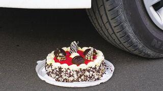 Crushing Crunchy & Soft Things by Car! CAKE, MELON, PEACH