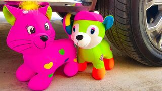 """Experiment Car vs Cat and Dog Toys & balloons """" Crushing Crunchy & Soft Things by Car"""