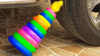 Experiment  Car VS  Rainbow Tower & balloons | Crushing Crunchy & Soft Things by Car