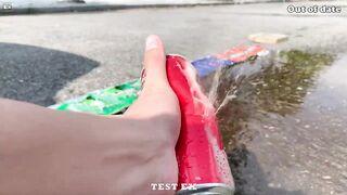 Experiment Coca Cola, Different Fanta, Pepsi, Sprite, Mirinda vs Mentos in Underground   Test Ex #14
