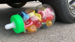 Experiment Car vs Bottle Candy Jelly Mukbang | Crushing Crunchy & Soft Things by Car | Test Ex