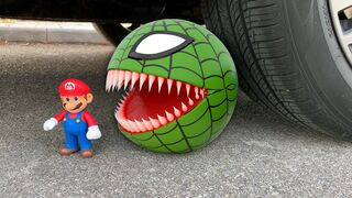 Experiment Car vs Spider Pacman vs Super Mario   Crushing Crunchy & Soft Things by Car   Test Ex