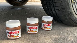 Experiment Car vs Nutella Chocolate Cakes | Crushing Crunchy & Soft Things by Car | Test Ex