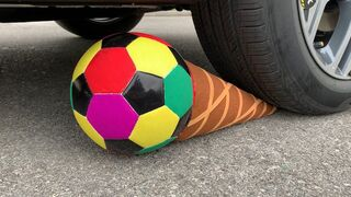 Experiment Car vs Soccer Ball Ice Cream   Crushing crunchy & soft things by car   Test Ex