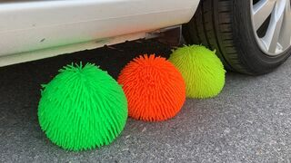 Experiment Car vs Doodles Ball   Crushing crunchy & soft things by car   Test Ex